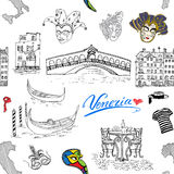 Venice Italy seamless pattern. Hand drawn sketch with map of Italy, gondolas, gondolier clothes, carnival venetian masks, houses, Stock Photos