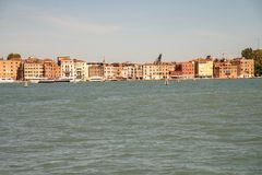 Venice, Italy, seen from the lagoon of the Grand Canal, shore of the seven martyrs royalty free stock photography