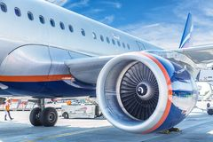 VENICE, ITALY - SEPTEMBER, 2017: Aeroflot Aircraft Boeing 737-800 at Marco Polo Venice Airport. Aeroflot is the flag carrier and l Royalty Free Stock Images