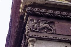 VENICE ITALY - SEPTEMBER 29, 2017: The bas-relief of lion Royalty Free Stock Photo