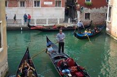 VENICE ITALY - SEPTEMBER 29, 2017: Canal in Venice with gondolas Stock Photos