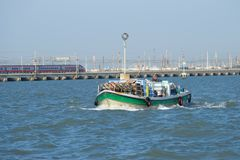 The cargo boat delivers goods in shops of Venice Royalty Free Stock Photo