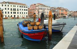 Cargo Boats on  the busy Grand Canal , Venice Italy. Stock Image