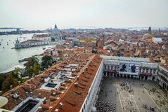 Channels of Venice and St. Mark`s Square from above in Italy stock photo