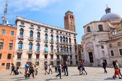 Venice, Italy - September, 2017: The church of San Geremia and square in Canareggio on the Grand Canal in Venice with tourists. Royalty Free Stock Photo