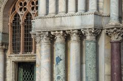 VENICE ITALY - SEPTEMBER 29, 2017: Columns of the Doges Palace Royalty Free Stock Image