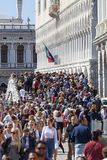 Crowded by tourists stone bridge Ponte della Paglia, Venice, Italy. VENICE, ITALY - SEPTEMBER 21, 2017: Crowded by tourists stone bridge Ponte della Paglia. The Royalty Free Stock Photo