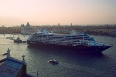 Cruise liner `Azamara Quest` in the San Marco Bay. Venice. VENICE, ITALY - SEPTEMBER 26, 2017: Cruise liner `Azamara Quest` in the San Marco Bay on the September stock photography