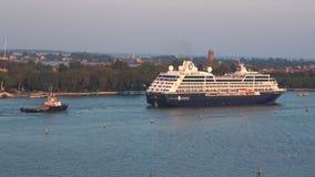 Cruise ship `Azamara Quest` in the Venetian lagoon. September evening. Italy. VENICE, ITALY - SEPTEMBER 26, 2017: Cruise ship `Azamara Quest` in the Venetian stock video footage