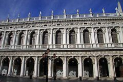 Facade of the National Library Biblioteca Nazionale Marciana in St Mark`s Square in Venice. VENICE, ITALY - SEPTEMBER 02, 2012: Facade of the National Library Stock Image