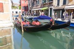Gondola - symbol of Venice, narrow side channel, Venice, Italy. VENICE, ITALY-SEPTEMBER 22, 2017: Gondola - symbol of Venice, narrow side channel. Gondola is Stock Photos