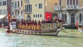 VENICE, ITALY - SEPTEMBER 7, 2014: Historical ships open the Reg. Ata Storica, the main event in the annual Voga alla Veneta rowing calendar, on September 7 Stock Photos