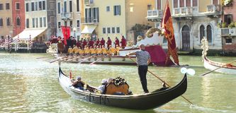 VENICE, ITALY - SEPTEMBER 7, 2014: Historical ships open the Reg. Ata Storica, the main event in the annual Voga alla Veneta rowing calendar, on September 7 Royalty Free Stock Photography
