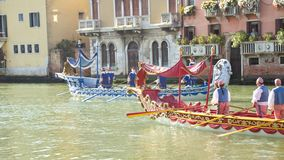 VENICE, ITALY - SEPTEMBER 7, 2014: Historical ships open the Reg Royalty Free Stock Photos