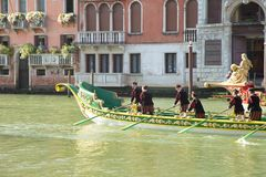 VENICE, ITALY - SEPTEMBER 7, 2014: Historical ships open the Reg Royalty Free Stock Images
