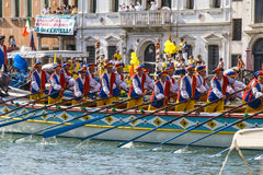 VENICE, ITALY - SEPTEMBER 07, 2008: Historical ships open the Regata Storica, is held every year on the first Sunday in September. Royalty Free Stock Photo