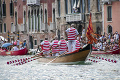 VENICE, ITALY - SEPTEMBER 07, 2008: Historical ships open the Regata Storica, is held every year on the first Sunday in September. VENICE, ITALY - SEPTEMBER 07 Royalty Free Stock Photos