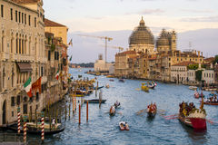 VENICE, ITALY - SEPTEMBER 07, 2008: Historical ships open the Regata Storica, is held every year on the first Sunday in September. Stock Photo