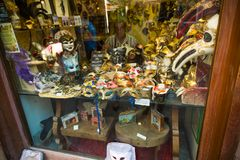 Venice. Italy. September 8, 2018.The master in his workshop at the store makes masquerade masks. In Venice royalty free stock images