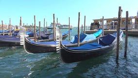 Moored gondolas closeup on a sunny day. Venice. VENICE, ITALY - SEPTEMBER 26, 2017: Moored gondolas closeup on a sunny day stock video footage