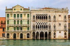 Venetian Gothic architecture building facade along the Grand Can royalty free stock image