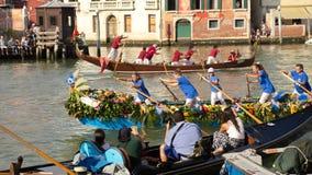 VENICE, ITALY - SEPTEMBER 7, 2014: Regata Storica, the main even. T in the annual Voga alla Veneta rowing calendar, on September 7, 2014 in Venice, Italy Stock Image