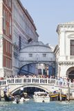 Sea view on Ponte della Paglia and Bridge of Sighs, Venice, Italy. VENICE, ITALY - SEPTEMBER 22, 2017: Sea view on stone bridge Ponte della Paglia and Bridge of Stock Images