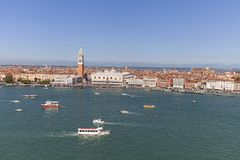 St Mark`s Campanile and gothic Doge`s Palace on Piazza San Marco, Venice, Italy Stock Photos