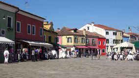 A sunny day on the town square. Burano Island, Venice stock footage