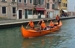 Venetain rowing team on the Cannaregio Canal Vnice Italy. Royalty Free Stock Photography