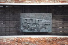 Venetian Ghetto, wall with carved relief on bronze plate , memorial to Venetian Jews, Venice, Italy. VENICE, ITALY - SEPTEMBER 23, 2017: Venetian Ghetto, wall Royalty Free Stock Images