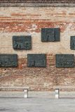 Venetian Ghetto, wall with carved reliefs on bronze plates , memorial to Venetian Jews, Venice, Italy Royalty Free Stock Image