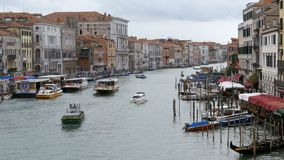 Venice Italy Grand Canal Transport Routes, View from the Rialto Bridge. VENICE, ITALY, SEPTEMBER 7, 2017: Venice Italy Grand Canal Transport Routes, View from stock video