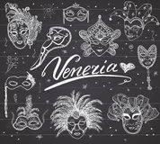 Venice Italy sketch carnival venetian masks Hand drawn set. Drawing doodle collection on chalkboad background. Venice Italy sketch carnival venetian masks Hand Royalty Free Stock Photo