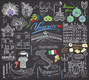 Venice Italy sketch elements. Hand drawn set with flag, map, gondolas gondolier clothe, houses, pizza, traditional sweets, carniva Stock Photos