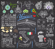 Venice Italy sketch elements. Hand drawn set with flag, map, gondolas gondolier clothe, houses, pizza, traditional sweets, carniva Stock Photography