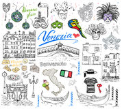 Venice Italy sketch elements. Hand drawn set with flag, map, gondolas gondolier clouth , houses, pizza, traditional sweets, carniv Stock Photos