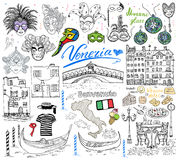 Venice Italy sketch elements. Hand drawn set. With flag, map, gondolas gondolier clouth , houses, pizza, traditional sweets, carnival venetian masks, market Royalty Free Stock Photography