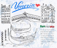 Venice Italy sketch elements. Hand drawn set with flag, map, gondolas, houses, market bridge. Lettering Venice, welcome in Italian Royalty Free Stock Photos