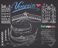 Venice Italy sketch elements. Hand drawn set with flag, map, gondolas, houses, market bridge. Lettering Venice, welcome in Italian Royalty Free Stock Photography