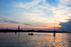 Venice Italy skyline after sunset Stock Image
