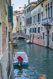 Venice in Italy. Small  canal and the bridge in Venice , Italy , Europe. view from the bank Royalty Free Stock Images