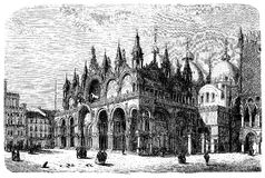 Venice, Italy, St Mark`s Basilica, vintage engraving. Vintage engraving of Saint Mark`s Basilica in Venice, Italy.Built from VIII century to XII in Italian Stock Images