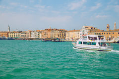 Venice, Italy, 2016, Street view. Old city and boats. It`s a tra Stock Image