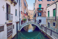 Venice, Italy, 2016, Street view. Old city and boats. It`s a tra Stock Photos