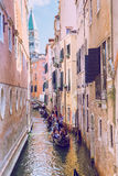 Venice, Italy, 2016, Street view. Old city and boats. It`s a tra Royalty Free Stock Images