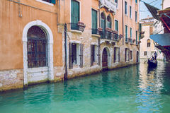 Venice, Italy, 2016, Street view. Old city and boats. It`s a tra Royalty Free Stock Image