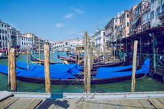 Venice, Italy, 2016, Street view. Old city and boats. It`s a tra Royalty Free Stock Photography