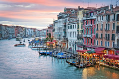 Venice Italy, sunset on the Grand Canal Stock Photos