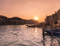 Venice in Italy / Sunset view of the river canal and traditional venetian architecture Stock Photo